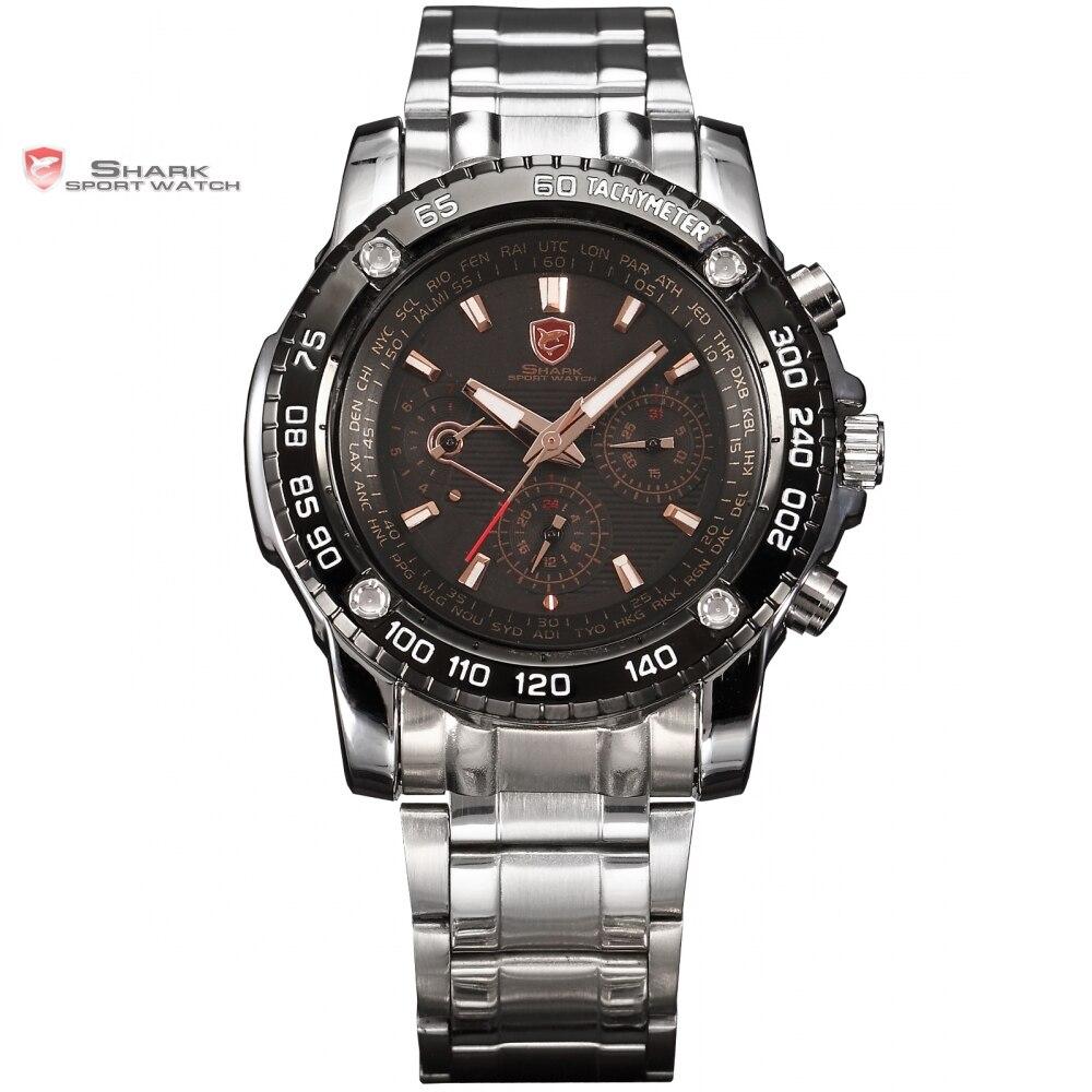 Prix pour Vu shark sport black watch or 6 mains date 24 heures Inoxydable En Acier Plein De Noël Hommes Militaire Poignet Montres À Quartz/SH017