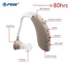 Usb aparelho auditivo com carregador S-25 aparelho de ouvido médica controle volume tom ajustável equipamento surdo frete grátis