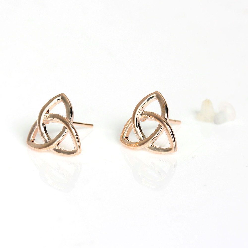 DoreenBeads Kupfer Ohrringe Ohrstecker Rose golden Triangle Knoten W/Stopper 12mm (4/8