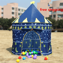 Kids teepee Prince Folding Tent Kids Children Boy Castle Cubby Play House Kids Gifts Outdoor Toy Tents