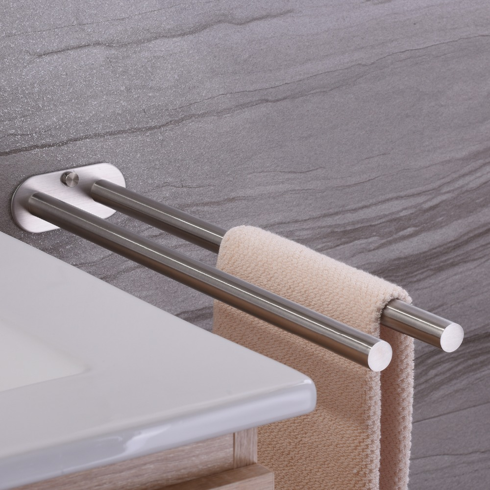 ZUNTO Double Arm Towel Holder 304 Stainless Steel Towel Bar Rail Wall Kitchen Hanger Shelf For Towels 2019 Bathroom Towel Rack