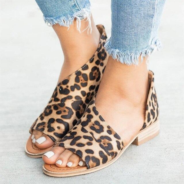 KLV/бренд женские босоножки Обувь для женщин Модные леопардовые римские туфли с открытым носком на низком каблуке женские туфли на квадратном каблуке