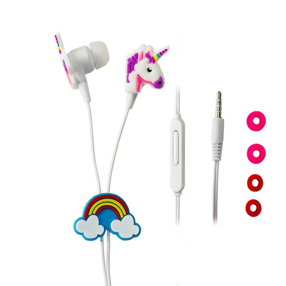 น่ารักการ์ตูนยูนิคอร์นหูฟังที่มีสีสัน Rainbow Horse In-Ear หูฟังหูฟังพร้อมไมโครโฟนสำหรับ Xiaomi สมาร์ทโฟน Grils เด็กของขวัญ