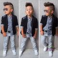 2015 retail Autumn 2-6Y Fashion Boys Clothes 3pcs children clothing set plaid shirt+suit+casual pants