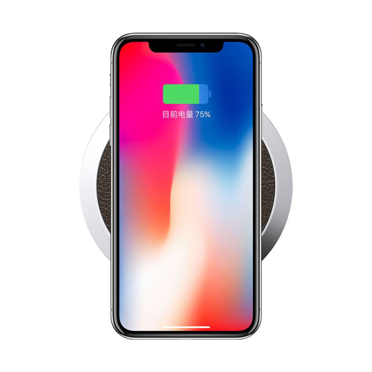 Portable Brown Round Wireless Fast Charger Pad 9V 1.8A Input Charging for iPhone X 8 8Plus Samsung S8 Note 7