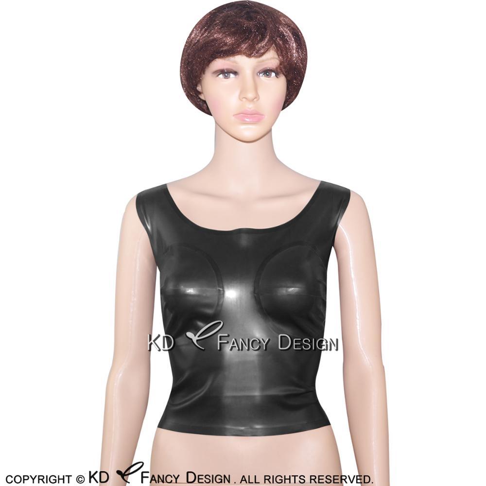 Débardeur Sexy en Latex noir avec fermeture à glissière sur les seins collés au dos YF-0026 en caoutchouc