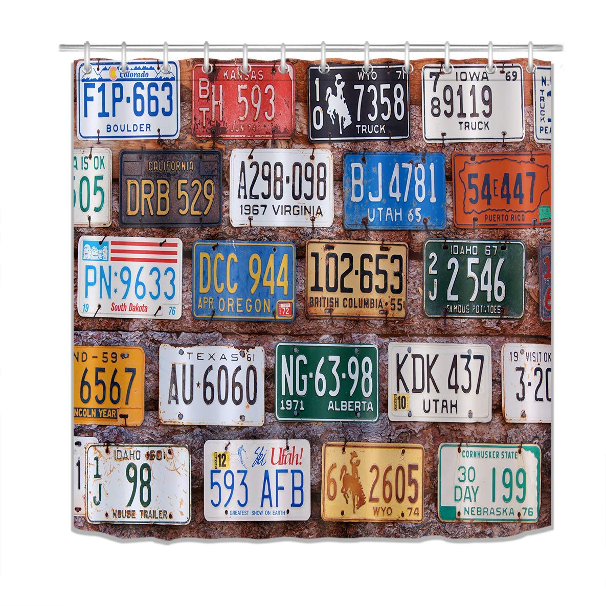 American Car License Plates Shower Curtain Rural Utah Brick Building Wall Bathroom Decor Polyester Fabric