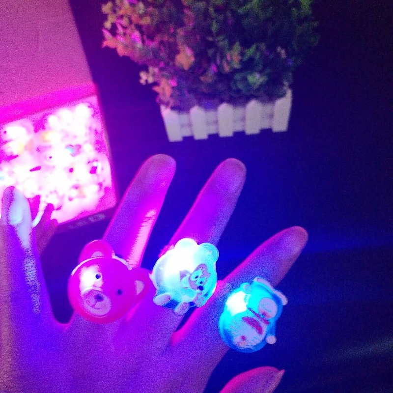 Funny Flash Toys Cartoon Ring,LED GRings Flashing Light For Kids,Children,Adult Flashing Rings Concert Party Supplies