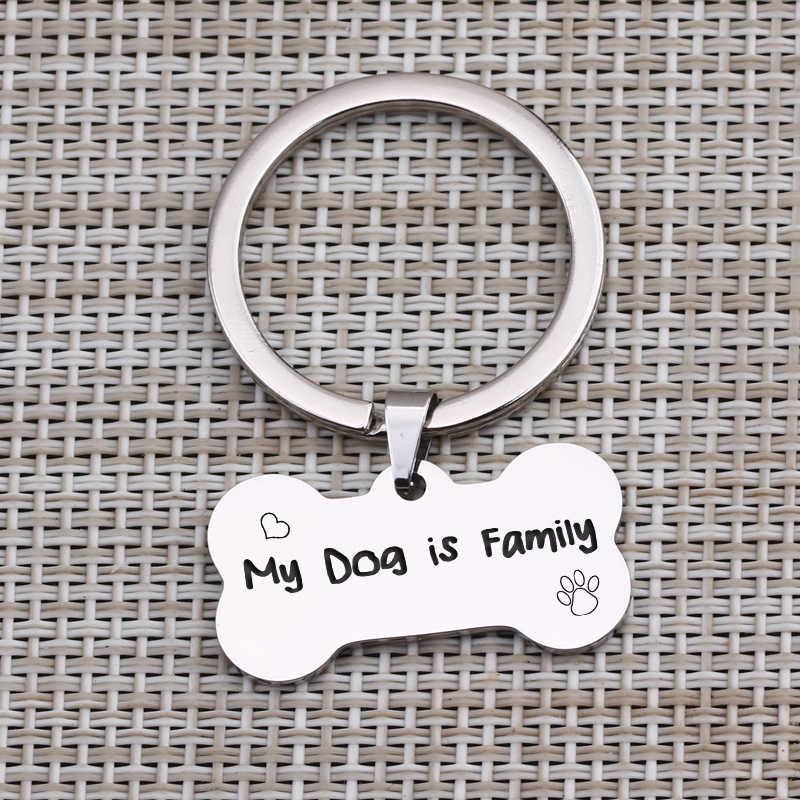 """My Dog ครอบครัว"" คีย์โซ่สัตว์เลี้ยง Dog Lover MOM สุนัข ID พวงกุญแจพวงกุญแจสแตนเลสกระดูกรูป Charm Key อุปกรณ์เสริม"