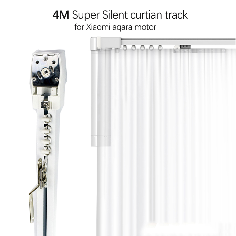 4m Super Quite Electric Curtain Rail For Xiaomi Aqara Moto/Dooya KT82TN, High Quality Silent Curtain Track For Smart Home