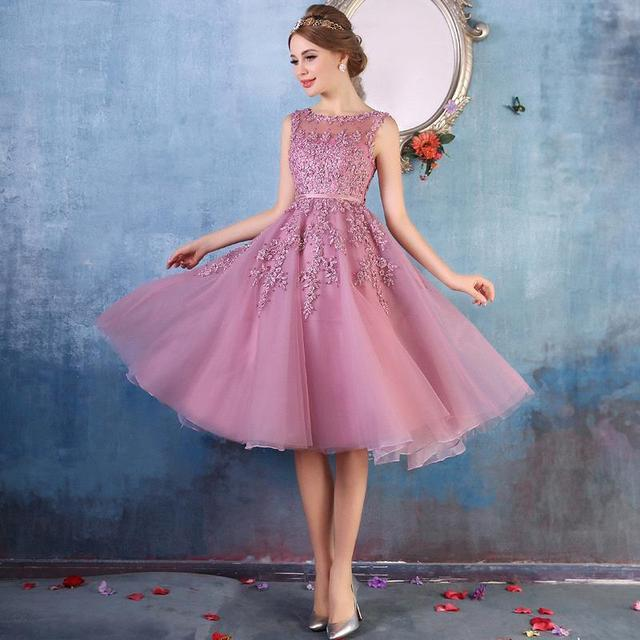 Short Evening Women Dress Dusty Pink Cheap Tea Length Prom Dresses Lace