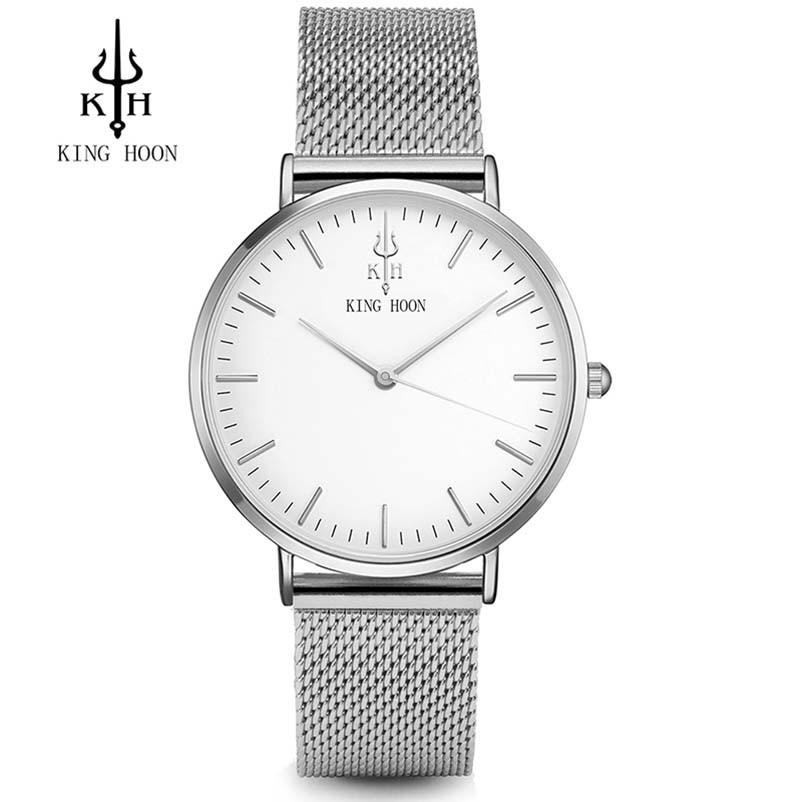 KÖNIG HOON Silber Frauen Uhren Luxus Hohe Qualität Wasserdicht Montre Femme Edelstahl 2016 Kleid Frau Armbanduhren