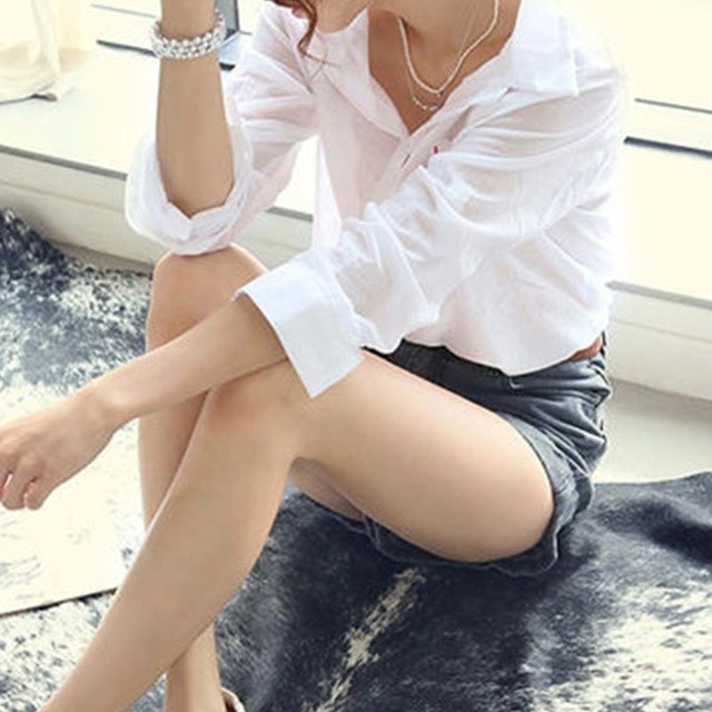 Cotton Casual Tops V-Neck Blouses