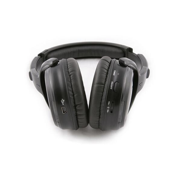 Silent Disco compete system black led wireless headphones – Quiet Clubbing Party Bundle (5 Headphones + 2 Transmitters)