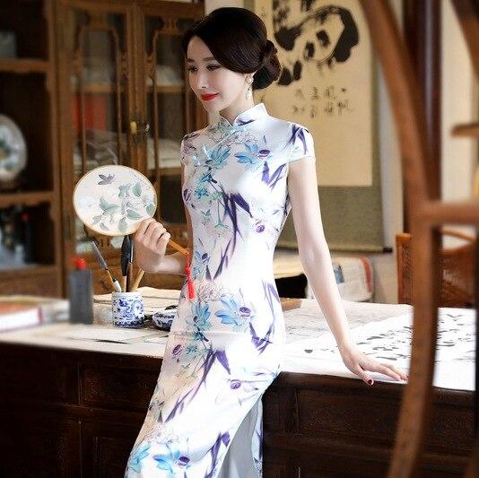Chino tradicional cheongsam Satén de seda de señora vestido mujeres verano largo baile vestido - 5