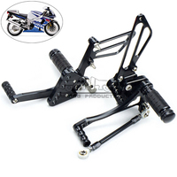 Bjmoto drop shipping Black Aluminum Motorcycle Foot Rests Rear Set motorbike Adjustable Foot Pegs For Suzuki GSXR1000 2005 2006