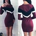 GERTU Autumn Women Dress 2016 New Arrival Long Sleeve Patchwork Casual Dresses Plus Size Bodycon Elegant Pencil Dress Vestidos
