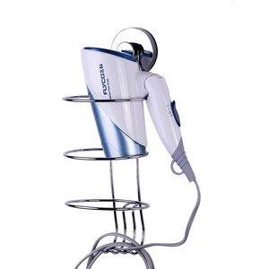 Image 4 - Soporte para secador de pelo cromado, sin perforación, gancho de succión fuerte