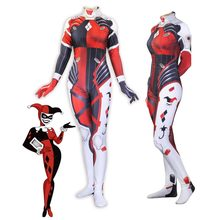 Game OW D.Va Harley Quinn Costumes Song Hana zentai Tights Cosplay Set Limited Edition Fitted Tights 3D printing Women jumpsuit(China)