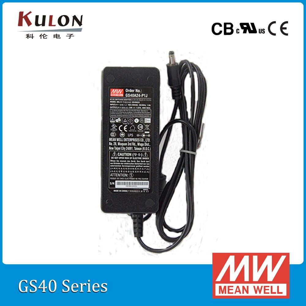 цена на Original Mean Well GST40A24-P1J 40W 24V 1.67A AC/DC high reliable Level V Meanwell desktop Adaptor