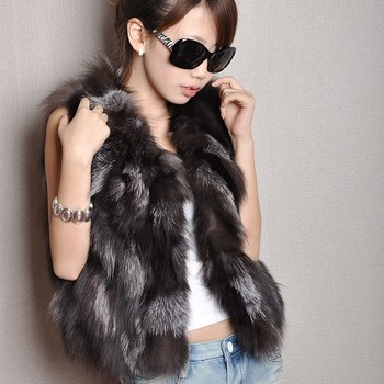 (TopFurMall) Autumn Lady Genuine Natural Real Fox Fur Short Vest Waistcoat Autumn Women Fur Gilet Outerwear Coats Jacket VK3038 image
