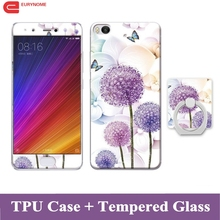 Case For Xiaomi Mi 5s Mi 5 Cartoon Finger Ring Superman Flower Soft Tpu Cover Case for xiaomi Mi5 mi5s With Tempered Glass Film