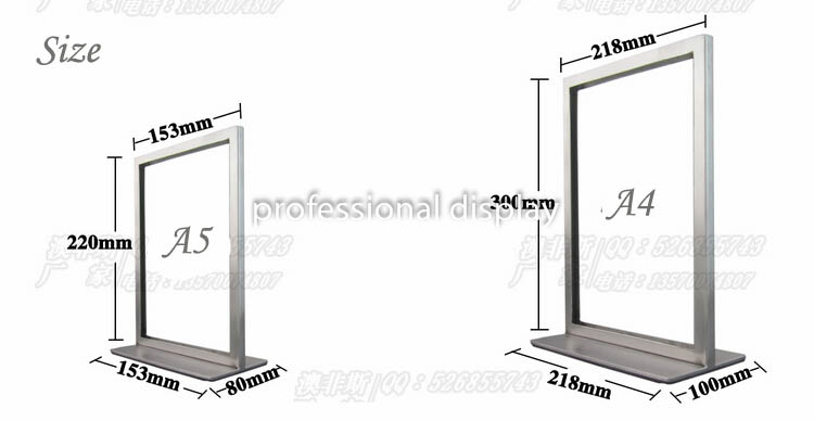 Metal A4 Poster Frame Poster Stand Billboard Display Stand Double ...