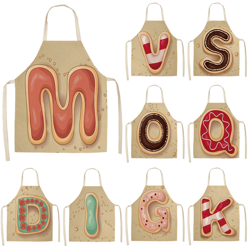 1Pcs Letter Pattern Kitchen Apron Sleeveless Cotton Linen Kids Aprons For Cooking Baking Bbq Home Cleaning Tools 53*65cm MC0029