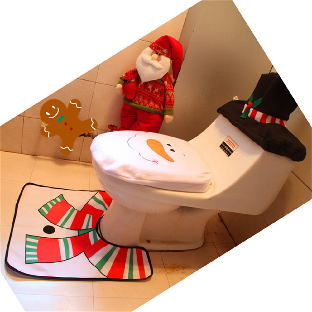 2018 Santa Claus Toilet Seat Cover And Rug Bathroom Set Contour
