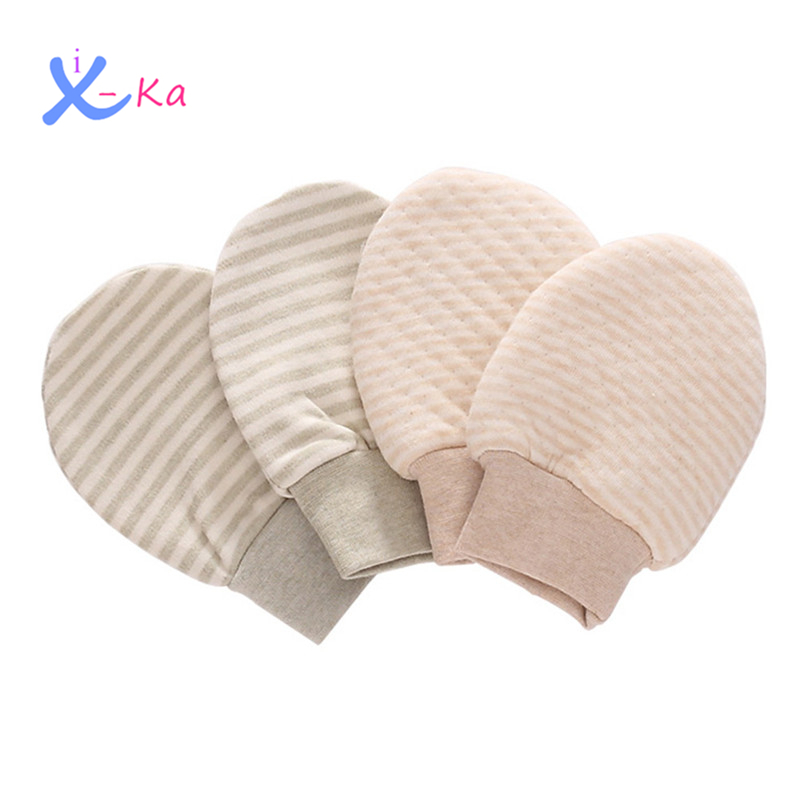 0fc083139 ④2 Pairs Baby Organic Cotton No Scratch Stripes Gloves Infant ...