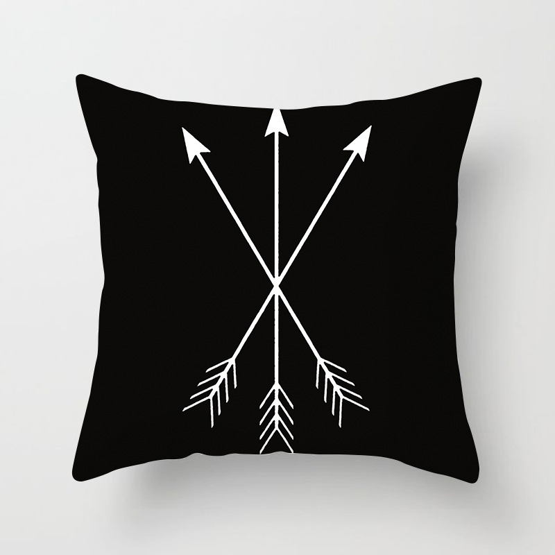 Черный и белый полиэстер геометрический Чехлы бросок наволочка пунктирную полоску сетки треугольная геометрическая художественная подуш...