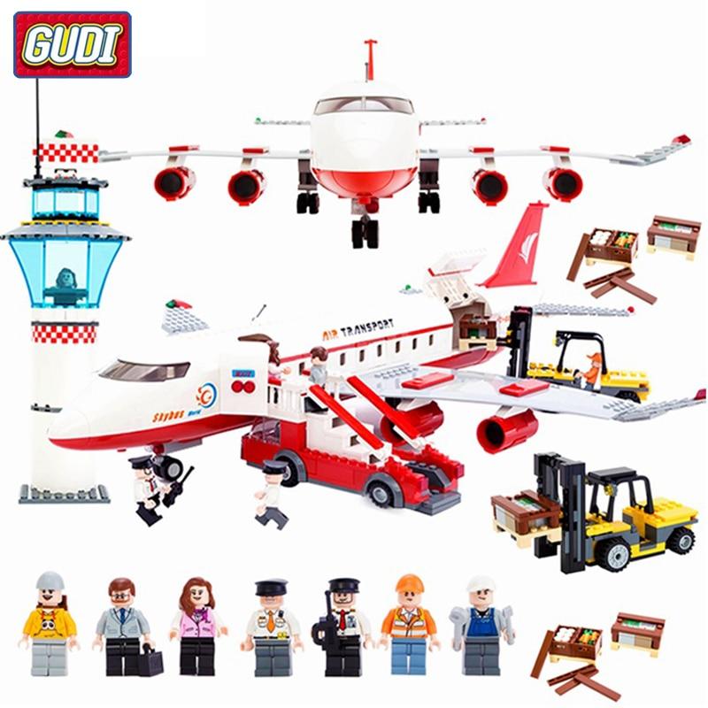Cidade Grande Avião de Passageiros de Avião Tijolos Assembléia Compatível Legoes Building Blocks Brinquedos Educativos Para Crianças Presentes