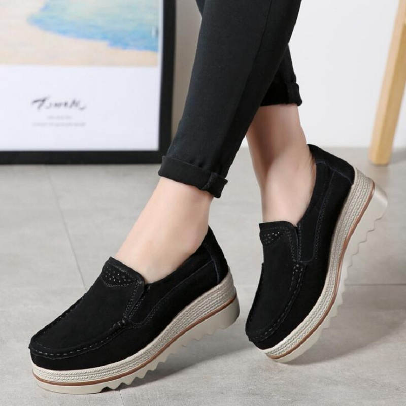 DAFENP women flats shoes woman platform sneakers   leather     suede   platform shoes slip on flats creepers moccasins zapatos de mujer