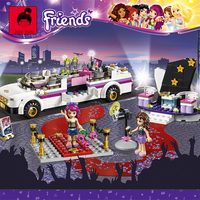 Super Large 695pc Building Blocks Set Compatible With Lego Friends Series Pop Star Limo Model Brinquedos