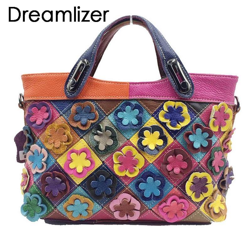 Dreamlizer Flower Decorated Women Leather Handbags Brand Patchwork Female Messenger Bag Design Genuine Leather Totes Lady flower decorated bag accessory