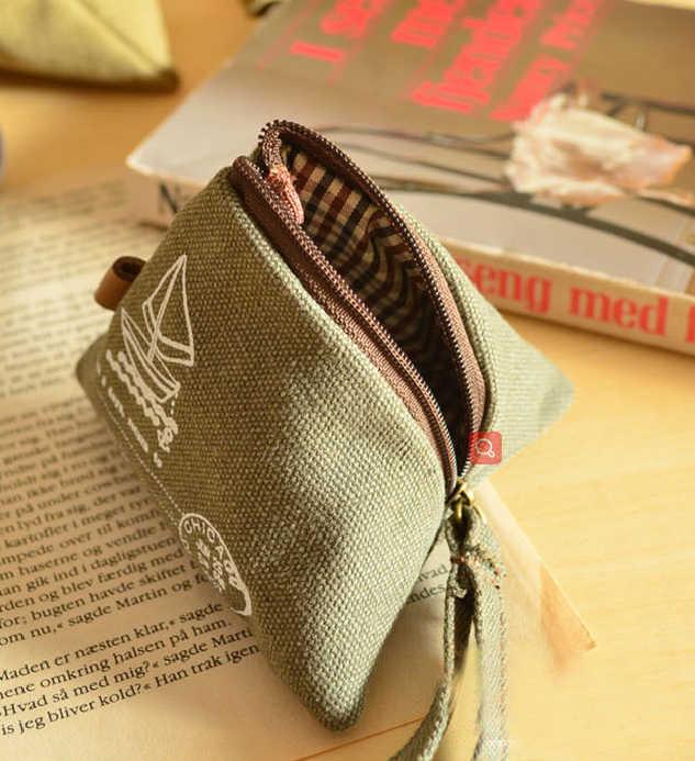 Unissex lona pequena carteira mini triângulo carteira moeda bolsas embreagem sacos de dinheiro com alça bolsa caso