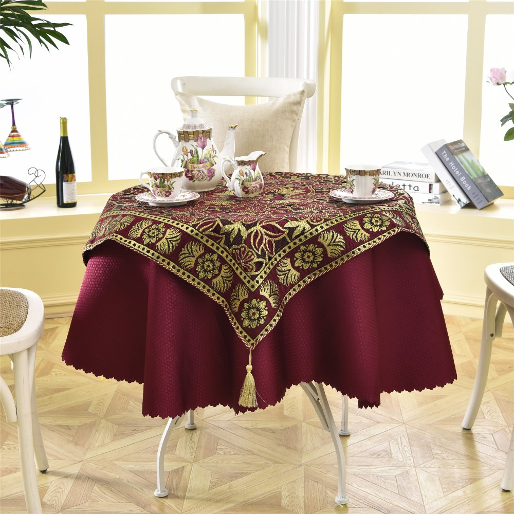 Table Cover 140cm Round Luxurious Embroidery Golden Bar Linens Lace Tablecloth