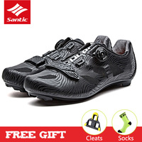 Santic Men's PRO Road Cycling Shoes Black Breathable Team Racing Sport Bike Shoes Auto-locking Bicycle Shoes Sneakers for Man