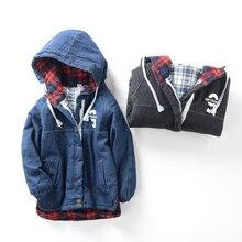 Новая зима 2016 мальчика номер девять ковбой хлопка-ватник Детей с толщиной хлопка-ватник одежда