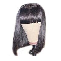 Sunnymay 180% полный кружево человеческие Искусственные парики с Синтетические чёлки волос парики из бразильского волоса отбеленные узлы Волнис