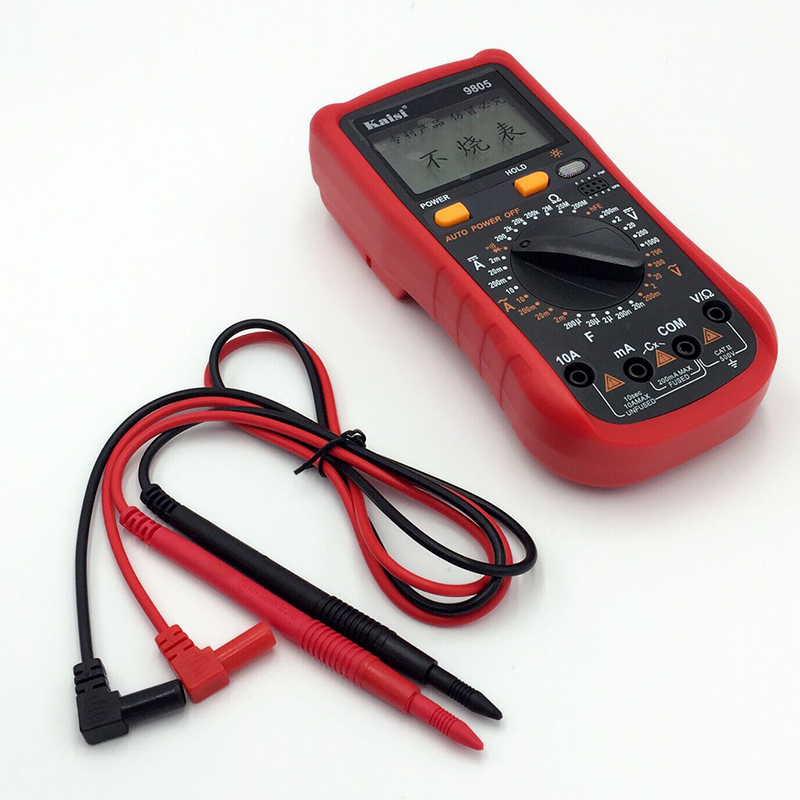 Kaisi  Digital Multimeters Meter Digital LCD Multimeter Backlight Data Hold DCV ACV DCA OHM Volt Tester Test Current excel dt9205a 3 lcd digital multimeter black orange 1 x 6f22