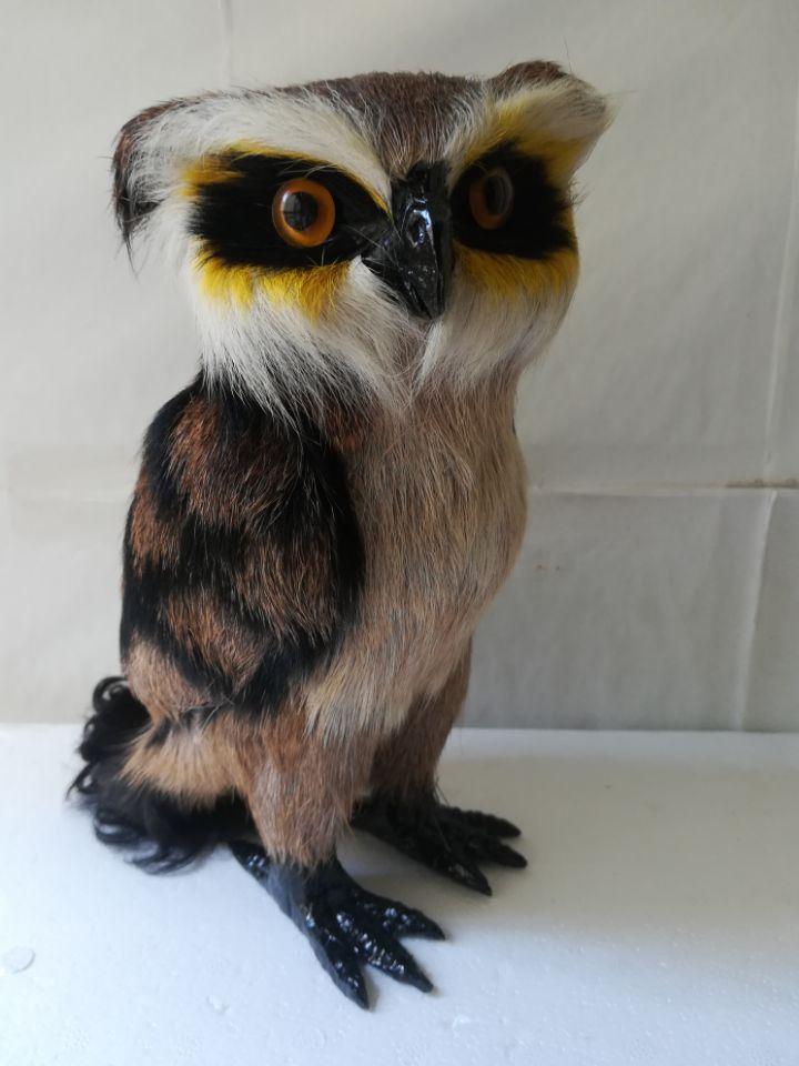 Simulation hibou plastique & fourrure brun nuit hibou modèle cadeau environ 23 cm, cadeau d'anniversaire w0122