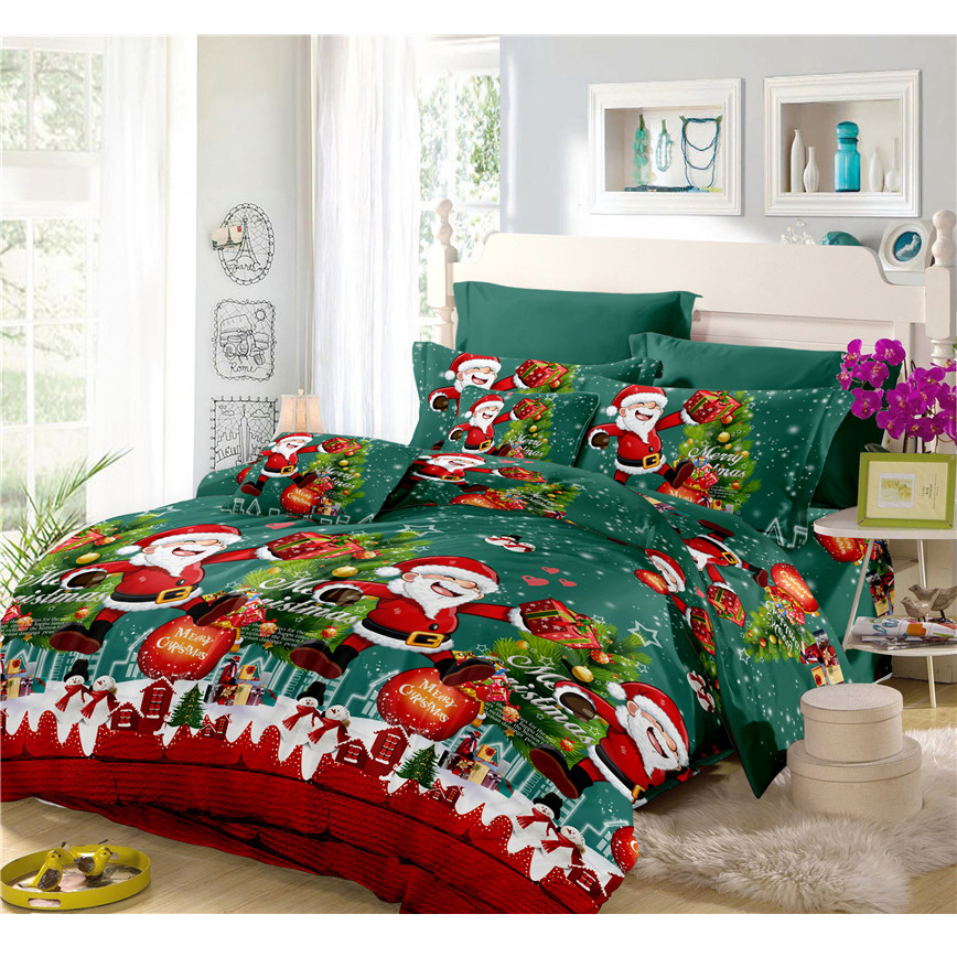 Merry christmas bedding set cartoon print duvet cover set - Bedroom sheets and comforter sets ...