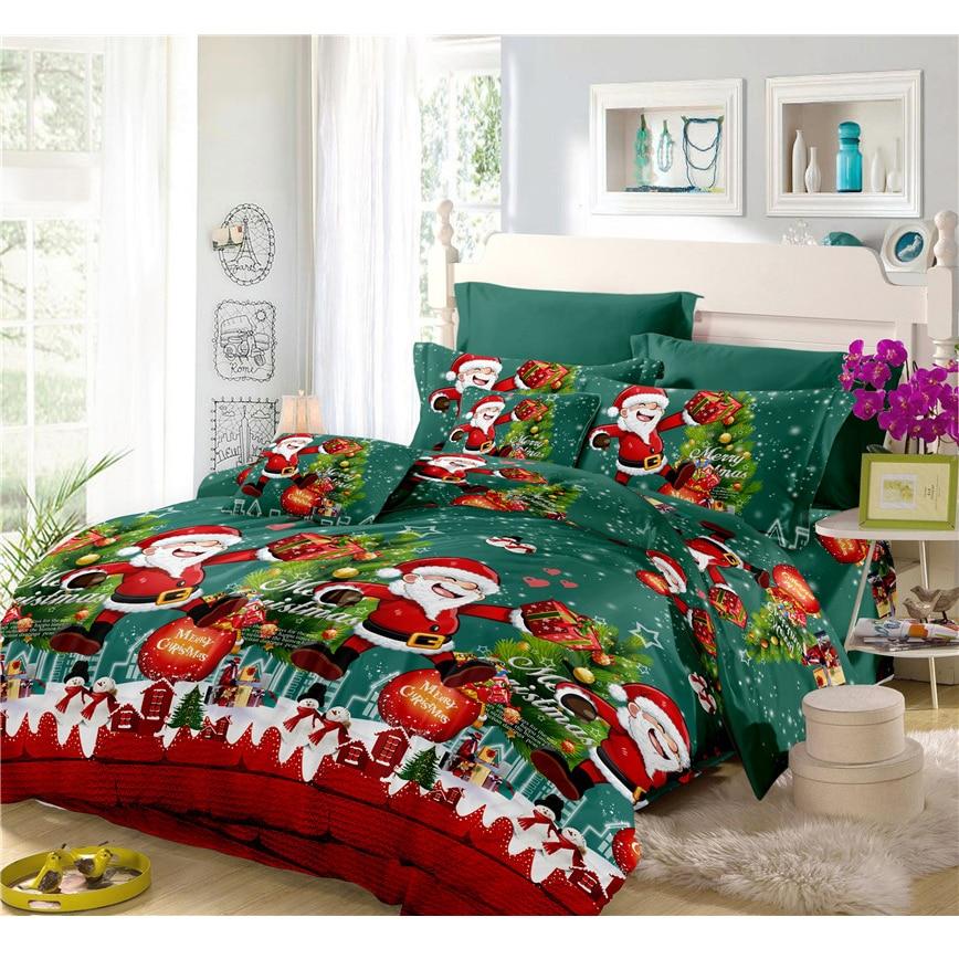 Hide A Bed Sheets: Merry Christmas Bedding Set Cartoon Print Duvet Cover Set