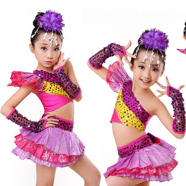 a9c347608f25 Sequined Girls Tap Jazz Dance Costumes Kids Ballroom Party Show Skating  DanceTops+Dress Outfits
