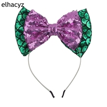 1PC 5Big Messy Sequin Bow & 7 Glitter Metallic Hairband Mermaid Headband for Kids Hair Accessories
