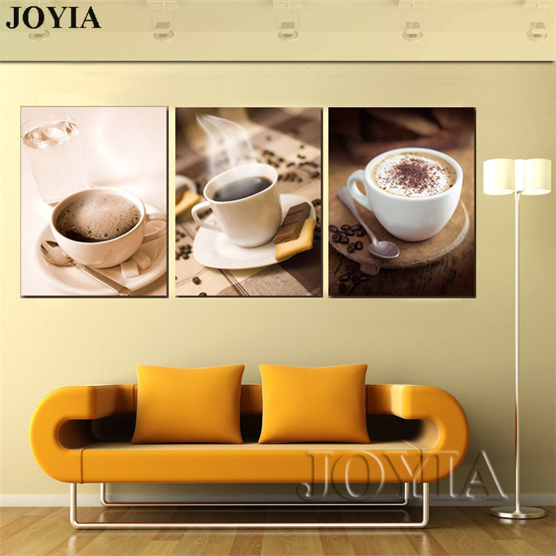 Set Of 3 Coffee Cup Canvas Wraps: Cafe Canvas Prints Hot Coffee Cup Wall Art Pictures Home