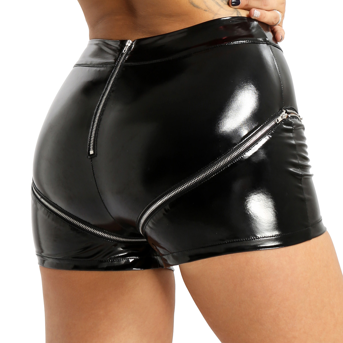 Women's Pole Dance Rave Shorts Lingerie Wet Look Patent Leather Hot Mini Shorts High Waist With Double Zipper Sexy Rave Clothes