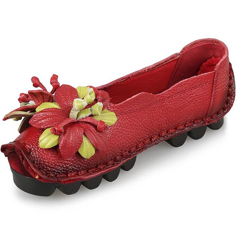 Femmes en cuir véritable chaussures femme cousu à la main en cuir appartements en cuir de vachette souple printemps Floral bateau chaussures femmes mocassins Cd17