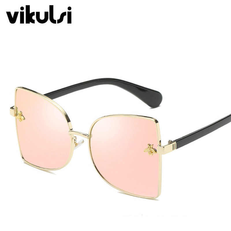 Oversized Bee Sunglasses For Women Fashion Trendy Metal Frame UV400 Mirror Brand Designer Cat Eye Square Sun Glasses Female 2018